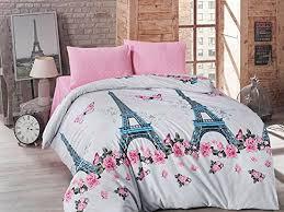 Twin Duvet Girls Dream Pink Paris Eiffel Tower Butterflies Roses 3 Piece