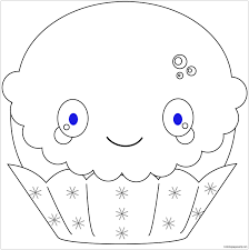kawaii christmas cupcake coloring page free coloring pages online