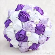 purple wedding bouquets wholesale purple bridal bouquet pearls artificial