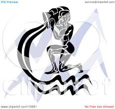 clipart illustration of a silhouetted spirit of aquarius over a
