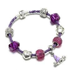 european charm bracelet clasp images Purple braided leather bracelet princess dress pendant clasp snake jpg
