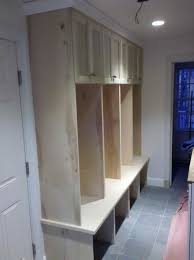 mudroom lockers love this open to the floor crown moulding and
