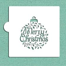 merry christmas holly ornament cookie and craft stencil cm074 by