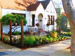 image of landscape ideas for small front yard tropical landscaping