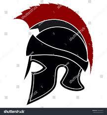 silhouette greek helmet red crest on stock vector 505307407