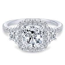 3 diamond rings 14k white gold 3 diamond cushion cut halo 14k white gold