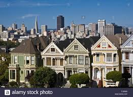 classic view of victorian houses and cityscape including the stock