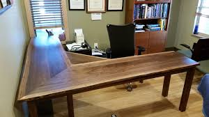 L Shaped Drafting Desk Solid Walnut Liveedge L Shape Desk Boulder Furniture Arts