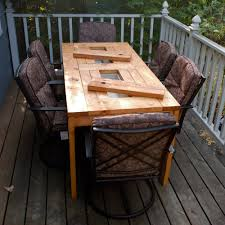 Building Outdoor Wood Table by Ana White Patio Table With Built In Beer Wine Coolers Diy Projects