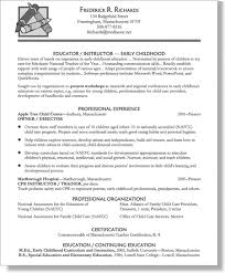 4 Resumes Samples For Teachers by Resume For Early Childhood Education Professional Early Childhood
