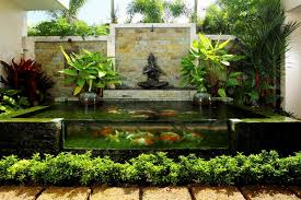 natural style backyard with small water garden designs also fish