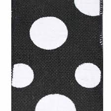 black and white polka dot ribbon burlap dixie dot ribbon black with white dots 4 x 10 yards