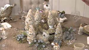 set of 3 graduated bottle brush trees with decorations on qvc