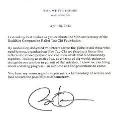 president obama sends greetings to tzu chi on 50th birthday