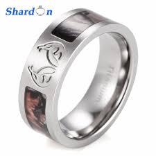 camo mens wedding bands shardon men s real tree carved antler camo ring titanium brown