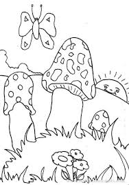 colouring pictures print colour toadstools image
