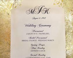 Elegant Wedding Program Die Cut Wedding Menu Etsy