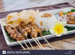 cuisine bali chicken satay chicken skewers with rice cuisine at a
