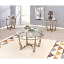 orlando ii coffee table in champagne and clear glass by acme