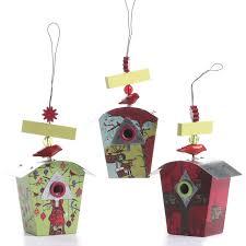 set of birdhouse ornaments birds butterflies basic