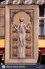 prague czech republic art deco design on exterior of building in