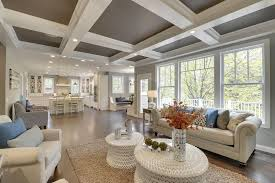 Living Room Ceiling Beams Traditional Living Room With High Ceiling Pendant Light In