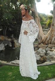 wedding dress lace sleeves handmade bell sleeve crochet lace bohemian wedding dress