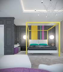 pair of modern homes with distinctively bright color themes