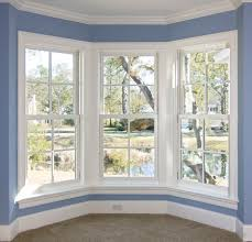 remarkable decorate bay window ideas performing soothing blue wall