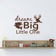 online get cheap dream baby nursery aliexpress com alibaba group dream big little one wall decal rustic nursery decor fish and deer wall art stickers for kids room baby wall decals mural jw87