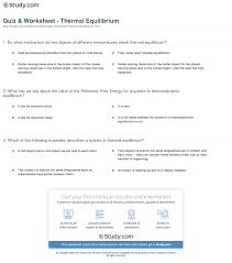 quiz u0026 worksheet thermal equilibrium study com