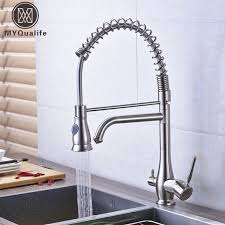 two kitchen faucet brushed nickel two spout water spout kitchen faucet 3