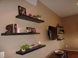 Espresso Floating Shelves by Large Espresso Floating Shelves Around Wall Mounted Tv Design Idea