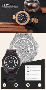 Wooden Material Element Bewell Zs W129a Male Wooden Date Display Movt Quartz Wristwatch