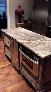 kitchen island with microwave drawer our kitchen island silver granite with chiseled edge sharp