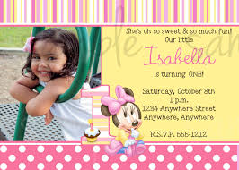 Editable 1st Birthday Invitation Card Minnie Mouse 1st Birthday Invitation