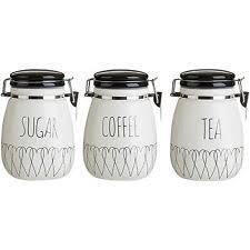 black kitchen canisters ceramic tea coffee sugar jars ebay