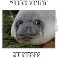 Miss Meme - you can admit it you miss us meme crying seal 51786