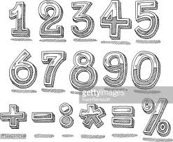 hand drawn numbers chrome set vector art getty images