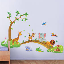home decor giraffe cartoon jungle wild animal wall stickers for kids rooms home decor