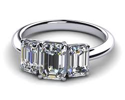 emerald stones rings images Emerald cut three stone diamond engagement ring american pearl jpg