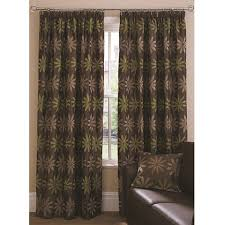 Floral Jacquard Curtains Jacquard Pattern Lined Pleated Curtains Green