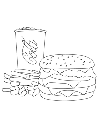 cola fries burger coloring download free cola fries burger