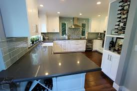transitional style gray u0026 white g shaped kitchen remodel with