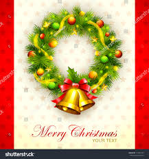 vector illustration decorated christmas wreath against stock