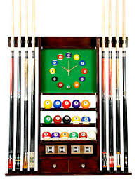 pool table wall rack cue rack only 8 pool billiard stick ball wall rack w clock