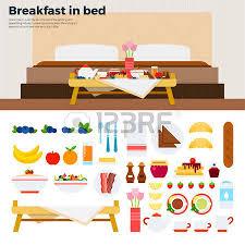 petit plat en chambre petit déjeuner au lit illustrations plats table avec petit déjeuner