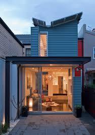 narrow block exterior contemporary with pavers contemporary house