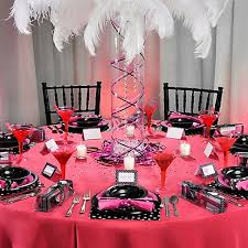 bachelorette party table decorations bright pink plastic round