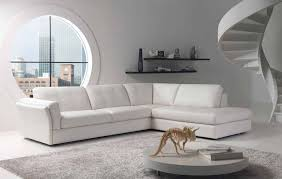 L Shaped Wooden Sofas White Leather Sofa With L Shape Placed On The White Floor Plus